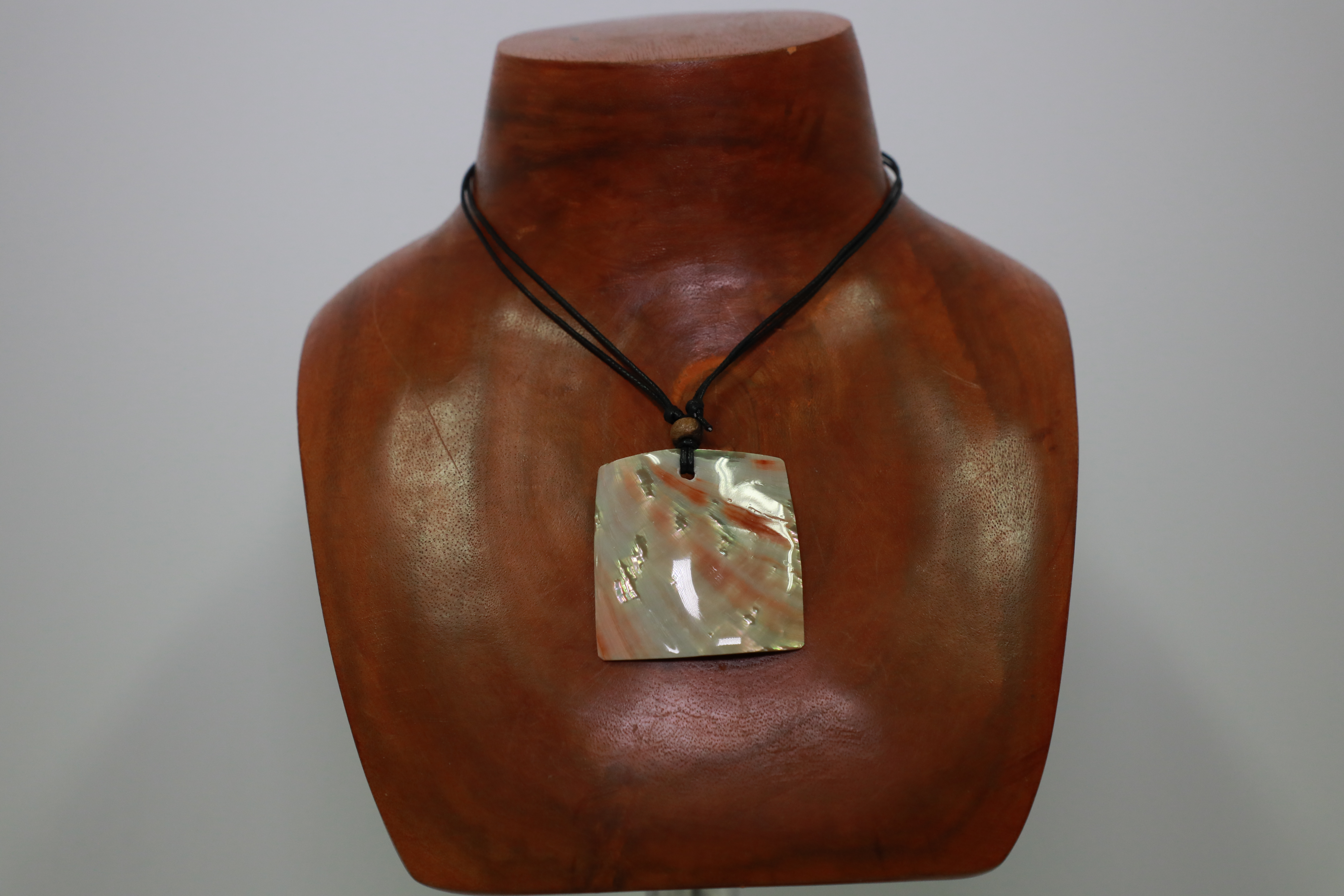 Red Square Abalone shell Necklace